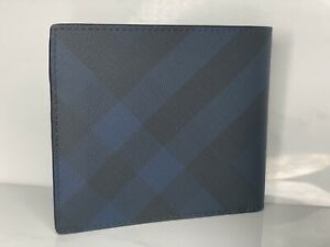 Burberry Men London Check and Leather Bifold Wallet Color Dark Charcoal