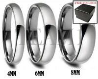 Silver Tungsten Carbide Ring Shiny Polished Wedding Band Comfort Fit Men Women