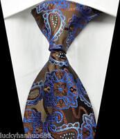 New Classic Paisleys Coffee Blue JACQUARD WOVEN 100% Silk Men's Tie Necktie