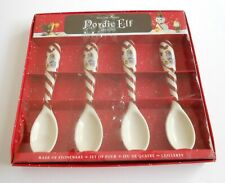 Williams Sonoma Nordic Elf Spoons Snowman Stoneware Christmas Holiday Set of 4