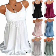Womens Lace Cami Chiffon Swing Dress Ladies Summer Holiday Vest Tank Tops Dress
