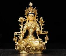 """8"""" Antique Tibet Tibetan Buddhism copper gilt hand painting Green Tara statue"""