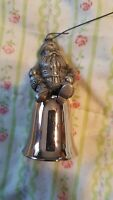 """Pewter Santa Claus Christmas Bell Ornaments 3"""" Tall"""