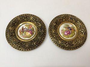 Pair Vintage Spain Limoges Fragonard Porcelain Couple Plaque w/Gold Brass Frame