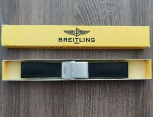BREITLING 134S watch strap + deployment clasp OEM black rubber band 22mm 22-20