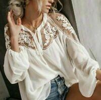 XL NWT Women's Boutique White Lace Vtg 70s Insp Chiffon Boho Top Blouse X-LARGE