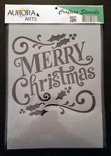 Stencil by Aurora Arts A4 Merry Christmas 190mic Mylar craft stencil 102