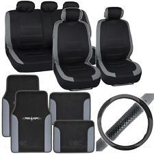 14Pc Car Seat Cover, Car Floor Mat & Steering Cover - Venice Gray / Black