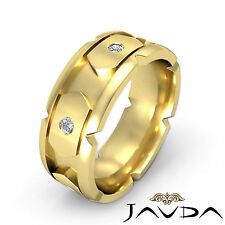 Round Diamond Solid Ring 18k Yellow Gold 8.5mm Mens Eternity Wedding Band 0.40Ct