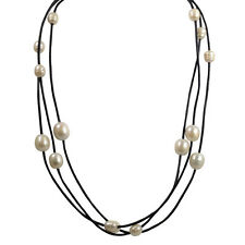 18 inch Leather & White Freshwater Pearls multi strand necklace