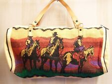 Purse, Western Design Sturdy Cotton Bag With Three Range Riders, Leather Straps