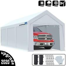 Peaktop Outdoor 10X20ft White Garage Shed Heavy Duty Carport Canopy Car Shelter