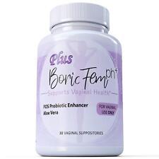 30 Boric Acid Vaginal Suppositories Plus Aloe Vera & FOS Probiotic Enhancer