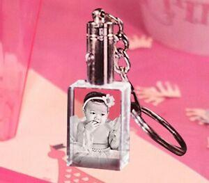 Personalised 2D Crystal Key Chain Laser Engraved LED Light Custom Photo