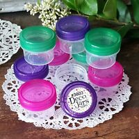 12 CLEAR Jars Speciality Color Lids 1/2 oz 1TBL Container Pink Green Purple USA