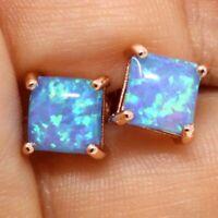 Vintage Princess Blue Opal Earrings Women Nickel Free Jewelry 14K Rose Gold