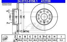 ATE Juego de 2 discos freno Trasero 256mm para SEAT VW GOLF 24.0112-0158.1