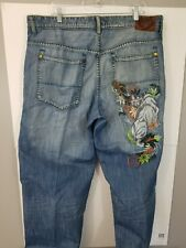 Ecko Unlimited Baggy Fit Size 40 Pants Vintage Embroidered Rhino Green Stitching