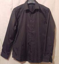 JA Mens Black Dress Shirt Pinned Stripe Formal Business size Large