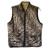 Chicos Womens Quilted Reversible Vest Brown Leopard Print Zip Up Pockets Large