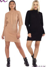 New Women's Cable Knit Long BALLOON SLEEVE Ladies Midi Jumper Dress SWEATER blac