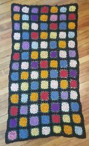 "Vintage Black Floral Granny Square Crochet Afghan Blanket Throw 40"" x 76"""