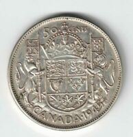 CANADA 1945 50 CENTS HALF DOLLAR GEORGE VI CANADIAN .800 SILVER COIN DIE BREAK