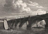 Waterloo Bridge, London. Antique engraved print 1817 old picture