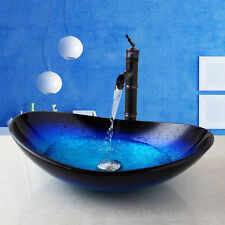 Bathroom Tempered Glass Vessel Sink Faucet Basin Mix Oil Rubbed Bronze Taps