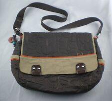Vintage FOSSIL Brown Quilted Key-Per Messenger Mail Diaper Bag Crossbody Bag