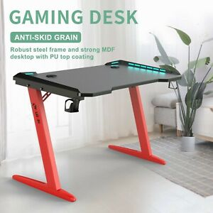 Gaming Table Computer Desk Laptop PC Study Writing Table W/ Cup Holder Red