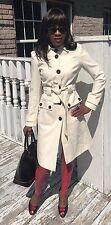 Belted Designer Via Full length White cream color wool blend coat Jacket S 2