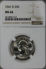1941 D 25C NGC MS 66              Washington Quarter, Silver 25 Cents (0.25)
