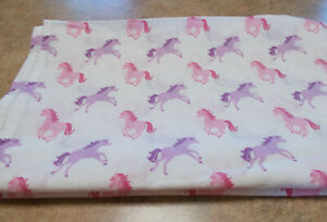 1 Twin Sheet White With Pink And Purple Horses P.D.K. Worldwide Enterprises, INC