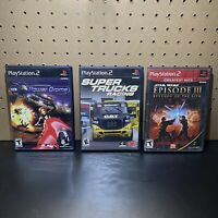 3 Game PS2 Lot-Power Drome,Super Trucks Racing & Star Wars Episode III-Tested