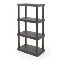 "Plastic Garage Shelving Unit, 48"" Sturdy Durable Storage Shelves, Black or White"