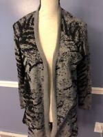 Calvin Klein Women's Cardigan Gray Black Long Sleeve Size MEDIUM cotton rayon