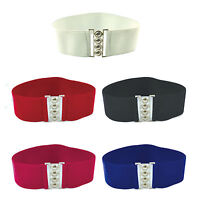 Ladies/Girls Waist Elasticated Wide Fashion Buckle Belt Belts Elastic Cat Walk