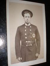 Old postcard man uniform badge Coachman Salvage no. 1 c1910s - 1920s