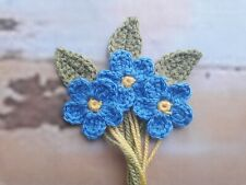 Crochet Flowers, 3 Forget Me Not & Leaves Crafts Scrapbooking Applique Brooch