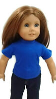 Royal Blue T-Shirt fits American Girl Dolls 18 inch Doll Clothes Short Sleeve