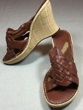 "CHEROKEE Women's Size 6 1/2 M Brown Leather Strappy 3 1/2"" Wedge Slide Sandals"