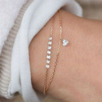 Crystal Rhinestone Infinity Bangle Bracelet Chain Heart Wristband Jewelry GiftFB