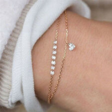 Crystal Rhinestone Infinity Bangle Bracelet Chain Heart Wristband Jewelry GiftKK