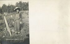 """Chained To The Fence Pole"", Harshaw Wisconsin WI RPPC 1912"