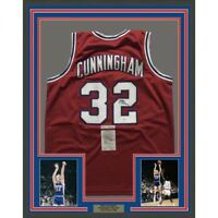 FRAMED Autographed/Signed BILLY CUNNINGHAM 33x42 Philadelphia Red Jersey JSA COA