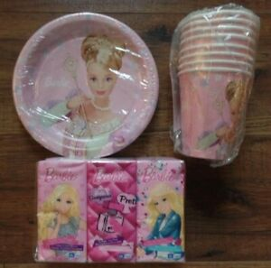 NEW VINTAGE BARBIE DREAM TIME 8 LUNCH PLATES & CUPS -  6 TISSUES PARTY SUPPLIES