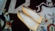 Cole Haan Peep Toe Yellow Ballet Flat Hidden Wedge Sz. 8
