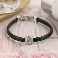Women Bracelet Crystal Black Leather Lobster Simple Gifts Fashion Accessory