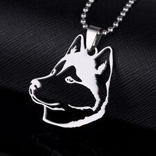 Stainless Steel Siberian Husky Alaskan Malamute Head Pet Dog Pendant Necklace